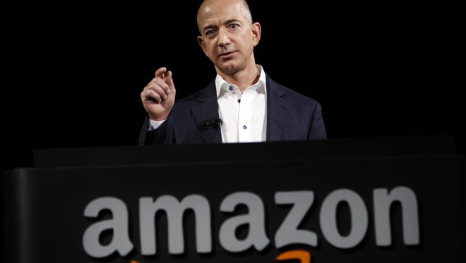 Jeff Bezos, CEO and founder of Amazon, at the introduction of the new Amazon Kindle Fire HD and Kindle Paperwhite personal devices, in Santa Monica, Calif., on Sept. 6, 2012.