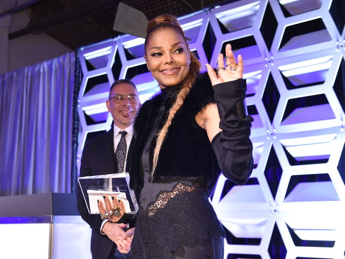 Honoree Janet Jackson waves to the crowd at 'OUT Magazine's'