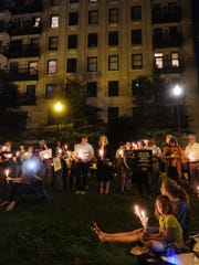 Supporters turn out for the candle light vigil held at Krutch Park in support for the victims of the Las Vegas shooting on Wednesday, October 4, 2017.