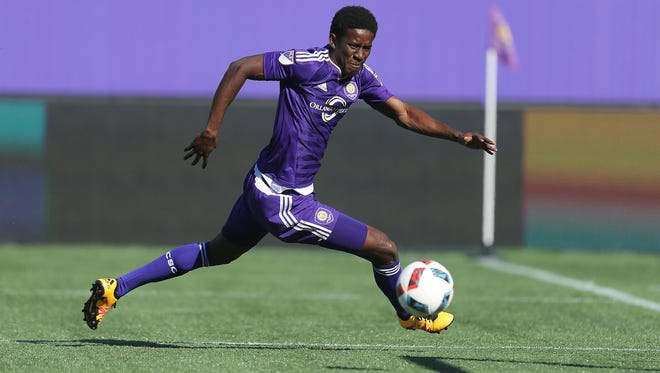 """Forward Hadji Barry, a Greece Olympia graduate, is a rookie who has split time between Orlando City's MLS and """"B"""" squad."""