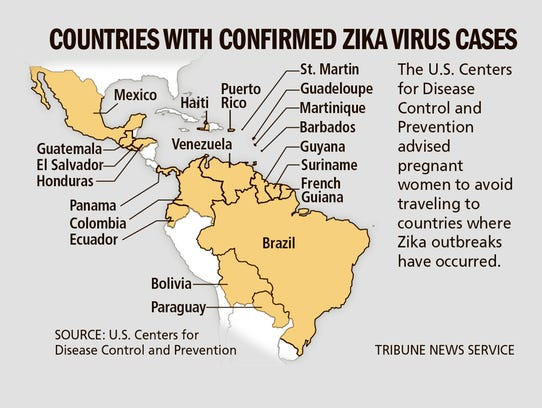 Countries with confirmed Zika virus cases