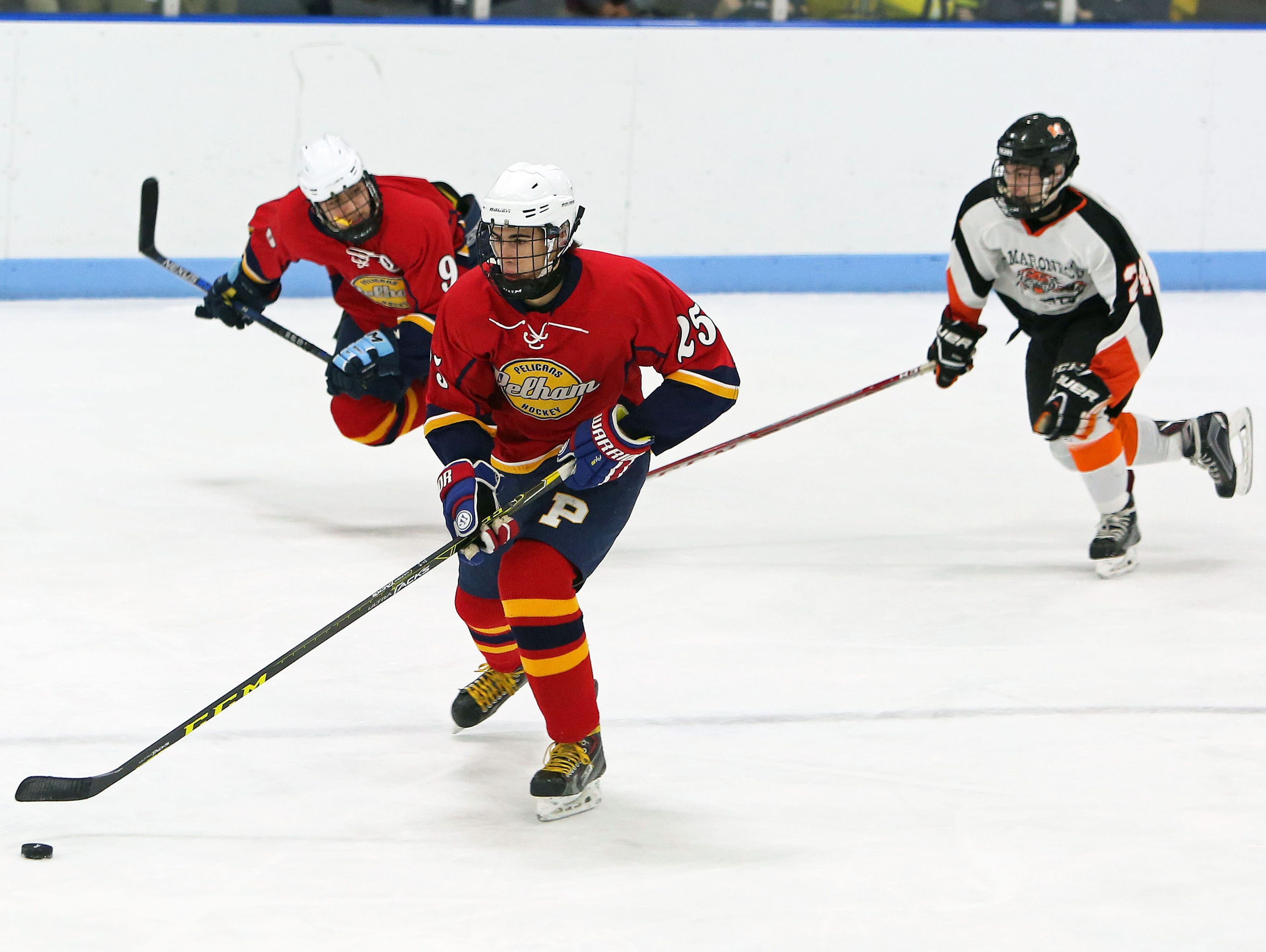 Mamaroneck and Pelham faced off in a hockey game at Hommocks Park Ice Rink in Mamaroneck Jan. 22, 2016.
