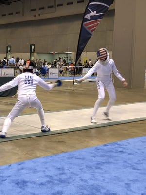Basking Ridge resident Katie Lin (left) won the bronze medal at the U.S. Fencing Association Summer National Championship in St. Louis, Missouri.