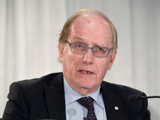 Canadian law professor Richard McLaren speaks at a news conference in Toronto, Monday, July 18, 2016, to present his findings into allegations of a state-backed doping conspiracy involving the 2014 Winter Olympics in Sochi, Russia. (Frank Gunn/The Canadian Press via AP)