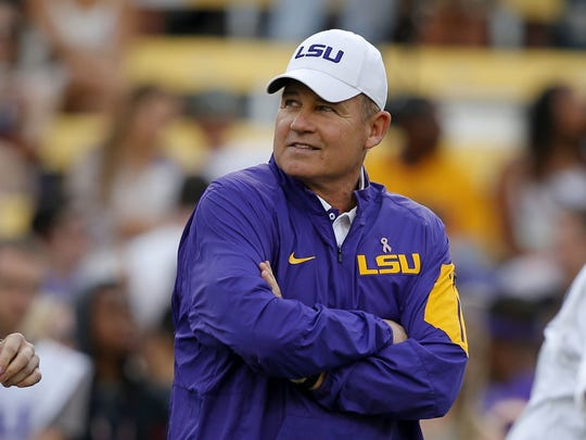 In this Oct. 17, 2015, file photo, LSU coach Les Miles