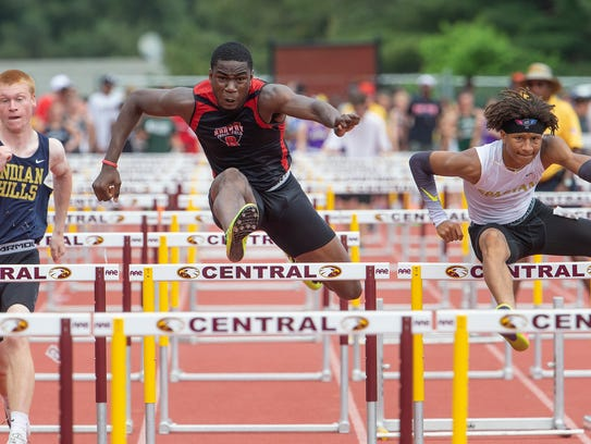 Rahway's Ola Akande taks second in Group 3 110 hurdles.