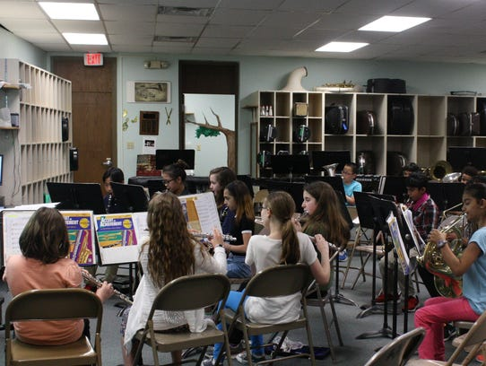 African Road Elementary School's fifth grade band began