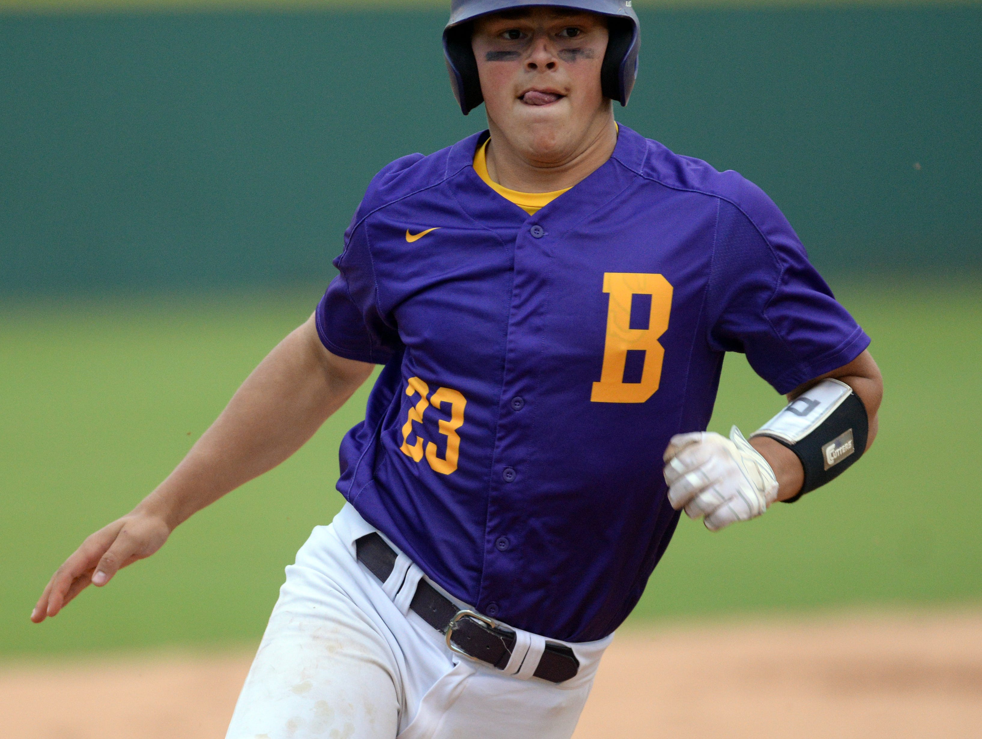 Byrd's Lucas Henderson rounds third base on an in the park homerun that scores two in the 4th inning of his game against Haughton.