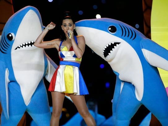 Katy Perry with dancing sharks at halftime of Super