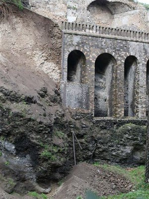 A landslide due to heavy rains is seen in the ancient site of Pompeii, Italy, today. The ancient site of Pompeii has suffered a landslide due to heavy rains, causing a retaining wall and garden at the house of Severus to partially collapse. Officials on Wednesday said the area affected by the latest collapse falls within the ''Great Pompeii'' joint EU-Italian restoration project and had been already closed to the public. Pompeii, the ancient city encased in volcanic ash, has suffered numerous collapses in recent years, attracting widespread attention to Italy's difficulties in maintaining its cultural treasures. Pompeii officials said fire fighters were assessing the ancient site to determine areas at particular risk for collapse in a bid to shore them up.
