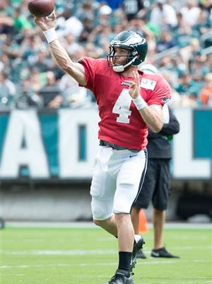 Fourth-string quarterback McLeod Bethel-Thompson warms up during Sunday's practice at Lincoln Financial Field.