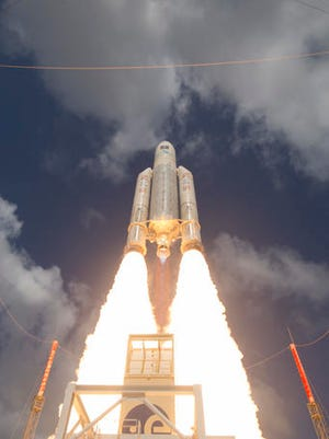 This Nov. 17, 2016 photo shows the liftoff of Ariane flight VA233, carrying four Galileo satellites, from Europe's Spaceport in Kourou, French Guiana. Europe's Galileo satellite navigation system, designed to rival the U.S.-made GPS service, has begun formal operations. The European Space Agency, ESA, said Thursday, Dec. 15, 2016, that 18 Galileo satellites already in orbit will be joined by another 12 in the coming years to ensure an uninterrupted service.