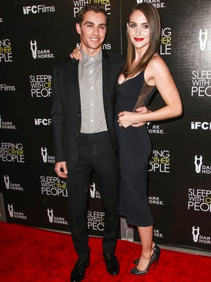 FILE - In this Sept. 9, 2015, file photo, Dave Franco, left, and Alison Brie attend a premiere of a movie at Arclight Hollywood in Los Angeles. Franco's publicist has confirmed a People magazine report that the pair had wed.