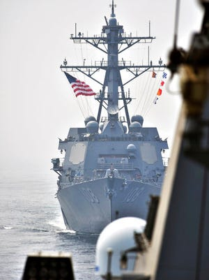 This photo provided by South Korean Defense Ministry shows the destroyer USS Wayne E. Meyer during a joint exercises between the United States and South Korea in South Korea's West Sea Tuesday, April 25, 2017. South Korea's military said Tuesday that North Korea held major live-fire drills in an area around its eastern coastal town of Wonsan as it marked the anniversary of the founding of its military.