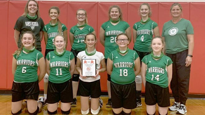 The Ss. Peter & Paul girls volleyball team captured the championship in the Sacred Heart Tournament last Saturday in Sedalia by beating St. Andrews of Tipton in three sets by the scores of 26-24, 17-25 and 15-5.
