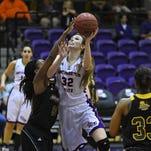Northwestern State's Cheyenne Brown takes a shot against Southeastern Louisiana.