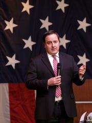Missouri Secretary of State Jay Ashcroft speaks at a Greene County Republican Party event in this file photo.