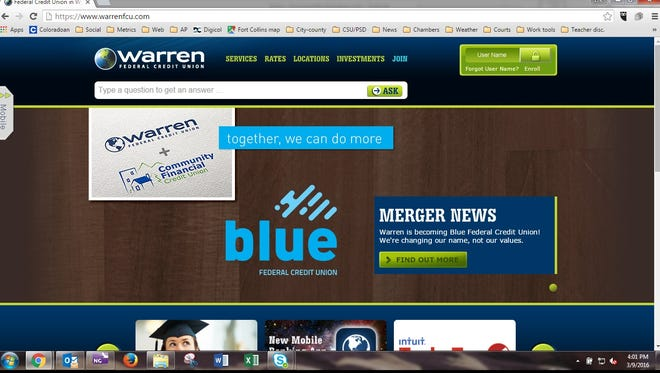 Warren Federal Credit Union's website announces its merger with Community Financial Credit Union.