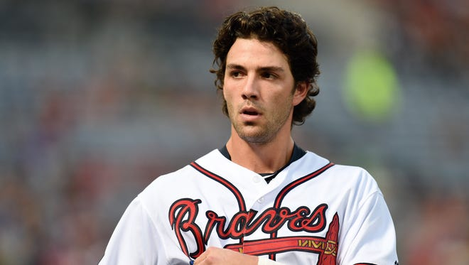 Atlanta Braves shortstop Dansby Swanson (2) on the field after lining out during his first at-bat in the majors on Aug. 17, 2016.