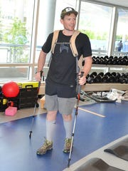 May 7: Harris is now walking with two trekking poles.