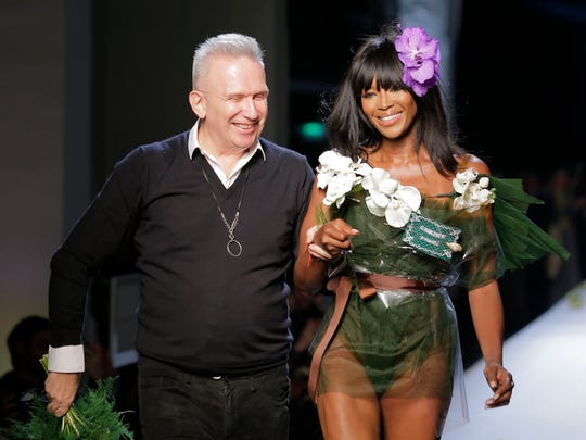 French designer Jean Paul Gaultier and model Naomi
