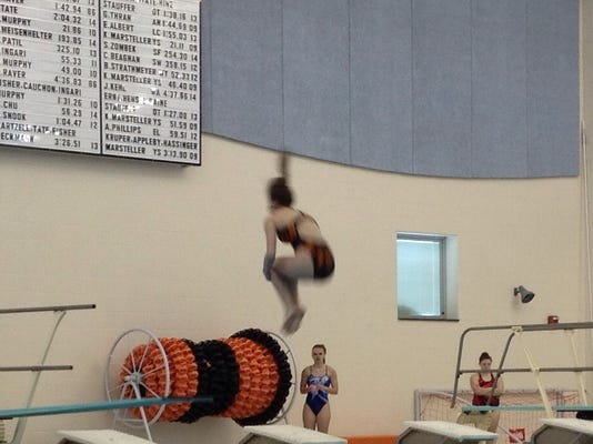 Northeastern's Olivia Thornton is airborne at the YAIAA diving championships.