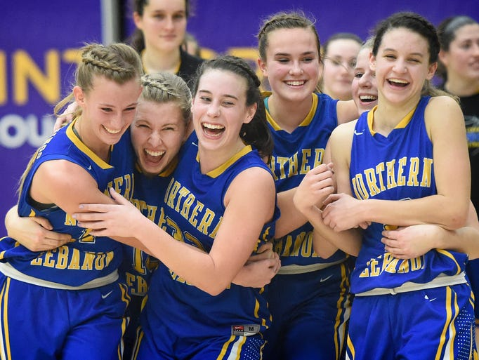 The Northern Lebanon girl's basketball team reacts