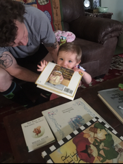 Jacob Faulkner babysits his niece. He enjoyed reading to her.