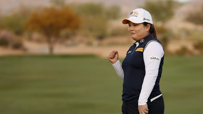 Inbee Park of South Korea celebrates on the 18th green after winning the Bank Of Hope Founders Cup at Wildfire Golf Club on March 18, 2018 in Phoenix, Arizona.