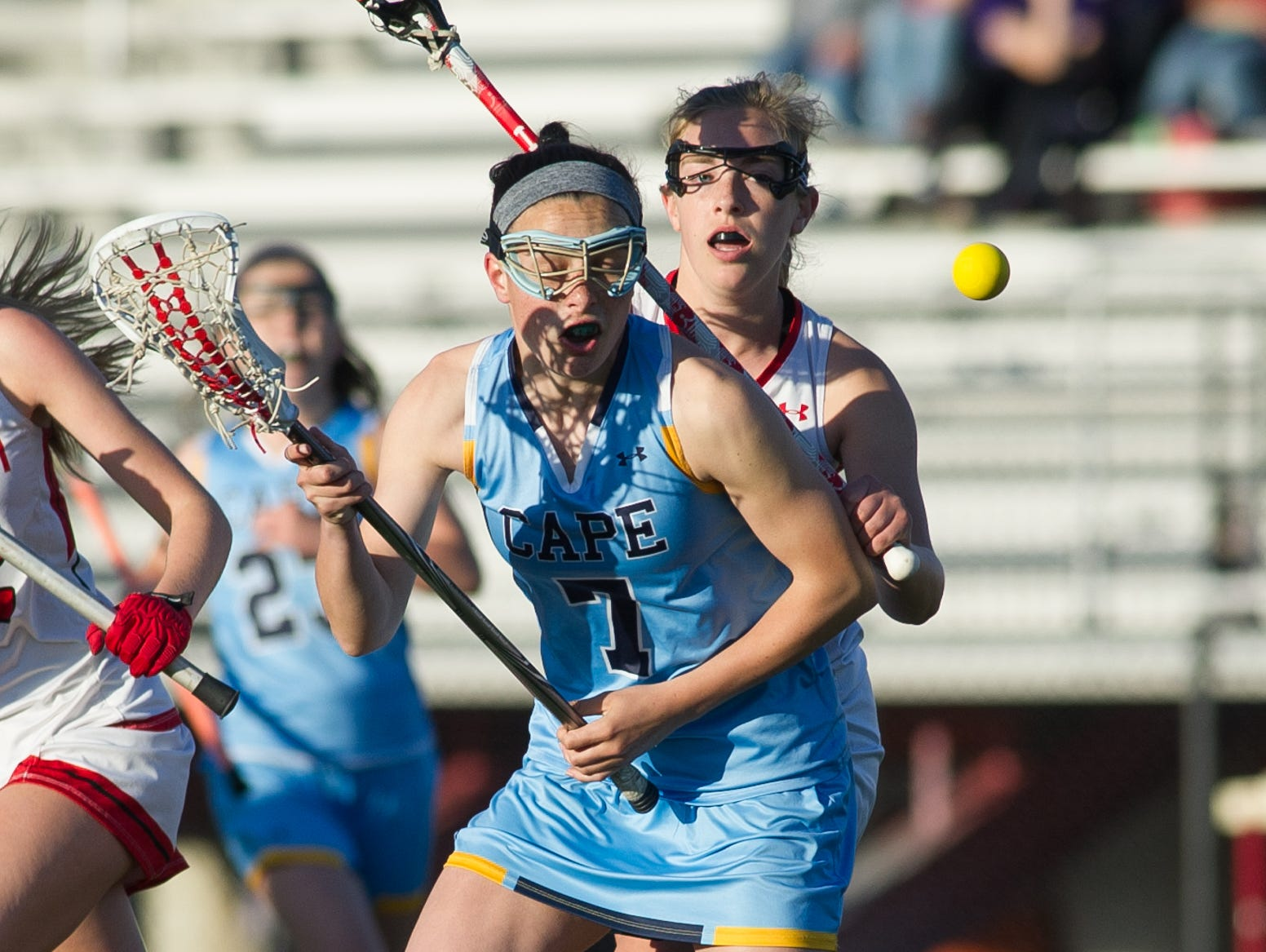 Cape Henlopen's Tess Bernheimer (7) looks for the loose ball in the first half against Polytech.