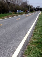 Tire marks were visible Sunday on westbound lane of Barratt's Chapel Road at scene of Friday's fatal accident, which happened a mile east of McGinnis Pond Road.