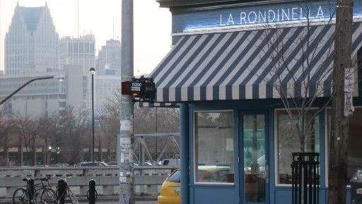 Parts of the downtown Detroit skyline are visible from the corner of Russell and East Fisher Freeway, home to chef Dave Mancini's new La Rondinella Italian restaurant.