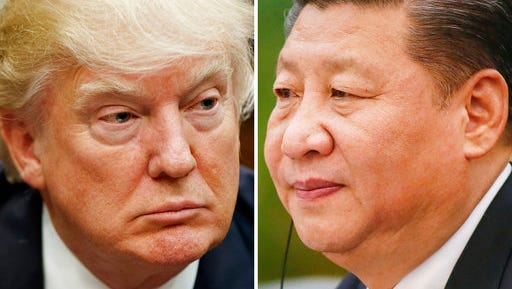 FILE - This combination of file photos shows U.S. President Donald Trump on March 28, 2017, in Washington, left, and Chinese President Xi Jinping on Feb. 22, 2017, in Beijing. China said Thursday, March 30, 2017, Xi and Trump will meet at the latter's Florida resort on April 6-7. It will be the first in-person meeting between the two.