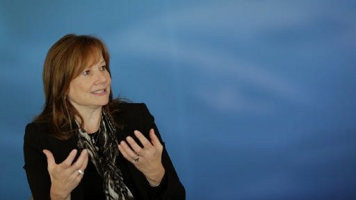 General Motors CEO Mary Barra talk with the editorial board of the Detroit Free Press in Detroit on Monday, Oct. 27, 2014.