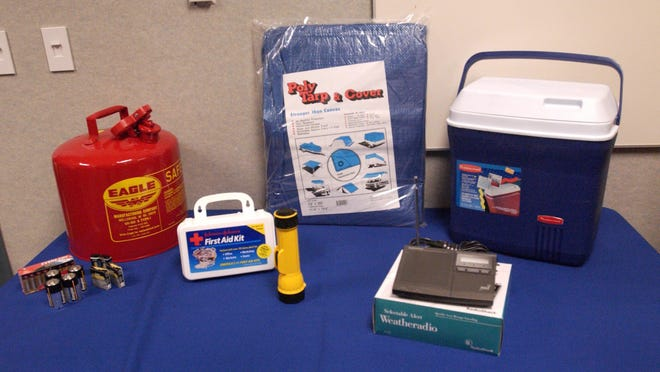 Some hurricane preparation items, inlcuding flashlights, batteries, gasoline cans, first-aid kits, tarps, radios and coolers.