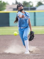 Redwood's Emily Ibarra pitches against El Diamante on Tuesday in a West Yosemite League softball game at El Diamante High School.