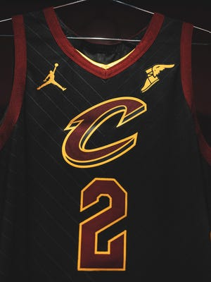 Nike Jordan brand's Jumpman logo is on Collin Sexton's Cavaliers 2020-21 Statement Edition Uniform.