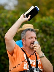 Timothy Brown preaches against homosexuality as a crowd gathered for a rally Monday, Sept. 18, 2017 in support of Elite Drag Star Productions, a company that holds drag shows in the city of Portland. Monday's  rally was held before the Portland City Council voted for the second time on the ordinance.