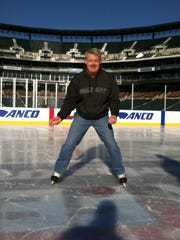 A one-directional right wing in recreational hockey, Gene Myers took to the ice at the media skate at Comerica Park in December 2013 as part of the Hockeytown Winter Fesitval.