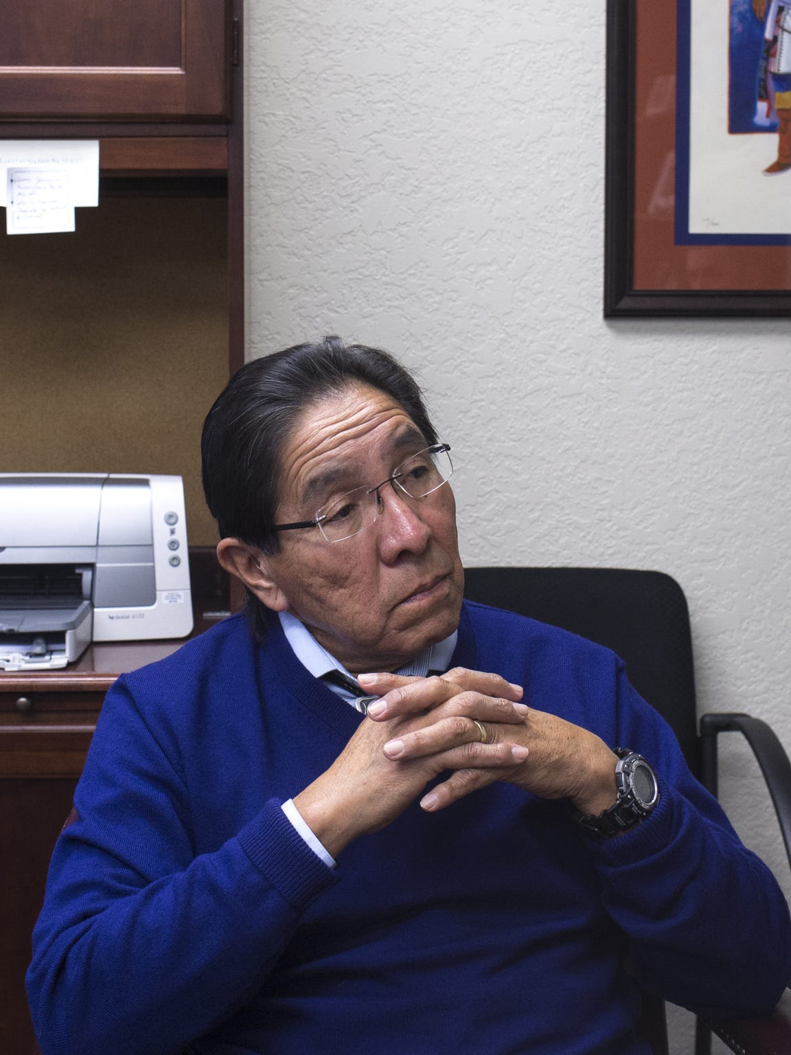 Hopi Tribe Chairman Herman Honanie, in his office on Feb. 3, 2017, says half the tribe wants the mine closed because of environmental concerns, and half want to keep it open. Honanie has worked for tribal government since 1977.