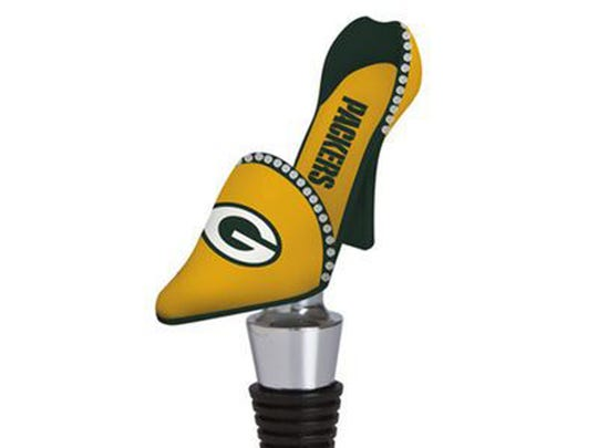 Shoe Bottle Stopper  Sometimes a fourth down and goal calls for a nice glass of sauvignon blanc — or locally made Frozen Tundra wine from Parallel 44 Vineyard & Winery — instead of a can of Miller Lite. Either way, it's that rare chance to work rhinestones into the party. $19.95 at NFLshop.com