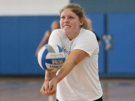 Dobbs Ferry volleyball player Alexis Demitrovic practices at the school Aug. 27, 2014.