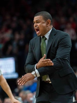 Phoenix Suns head coach Earl Watson reacts during the fourth quarter against the Portland Trail Blazers at Moda Center at the Rose Quarter. The Trail Blazers won 124-121.