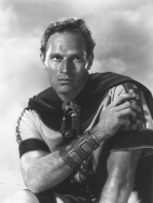 "Charlton Heston in the 1958 film ""Ben-Hur."""