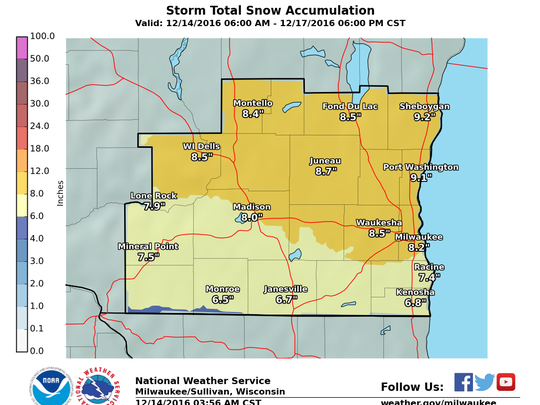 Forecasted snow totals for the storm arriving in southeastern Wisconsin Friday.