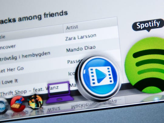 This photo illustration shows the Swedish music streaming