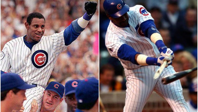 At left, Chicago Cubs teammates carry Sammy Sosa off the field after he hit is 61st and 62nd home runs in a victory over the Milwaukee Brewers on September 13, 1998, at Wrigley Field in Chicago. [Phil Velasquez/Chicago Tribune/TNS]. At right, Sosa breaks bat in the first inning of a game on June 3, 2003, at Wrigley Field in Chicago. Plate umpire Tim McClelland noticed cork inside the bat handle, and Sosa was ejected.