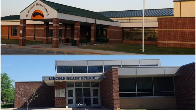 Washington Middle School, top, and Lincoln Grade School -- the two schools of Washington's District 52 -- will begin the 2020-21 school year with online learning.