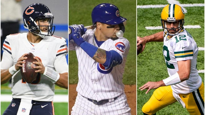 Chicago Bears quarterback Mitchell Trubisky, left; Chicago Cubs infielder Javier Baez, center; and Green Bay Packers quarterback Aaron Rodgers, right.