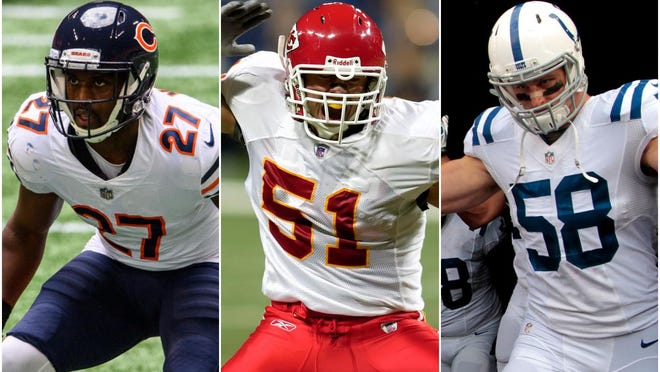 From left, Sherrick McManis, Boomer Grigsby and Andy Studebaker are three of the top football players to come from the Peoria area since 2000.